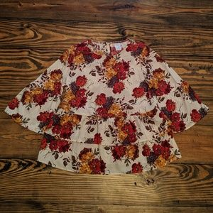 Time and Tru Floral Peplum Top